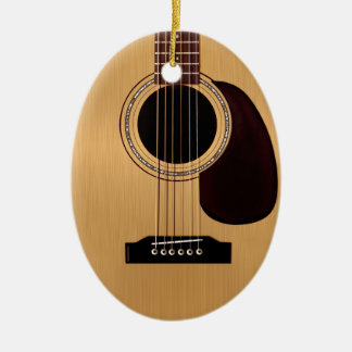 Spruce Top Acoustic Guitar Double-Sided Oval Ceramic Christmas Ornament