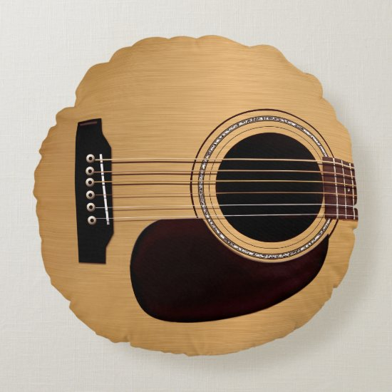 Spruce Top Acoustic Guitar Round Pillow