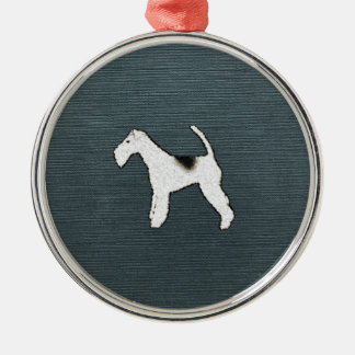 Spunky Fox Terrier Dog on Gray Blue Canvas Look Metal Ornament