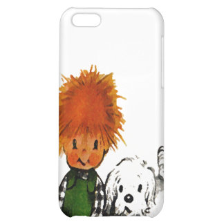 Spunky Little Boy & His Dog iPhone Case iPhone 5C Covers