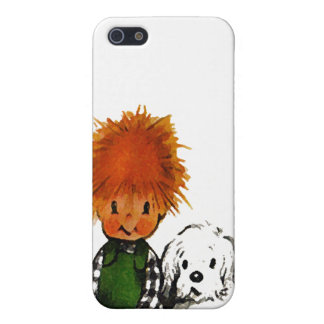 Spunky Little Boy & His Dog iPhone Case iPhone 5 Cover