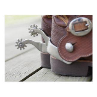 Spurs on cowboy boots postcards