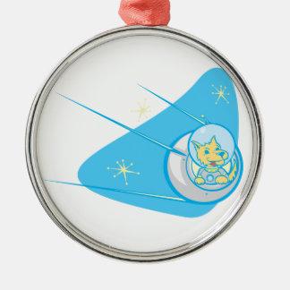 Sputnik and Laika Metal Ornament