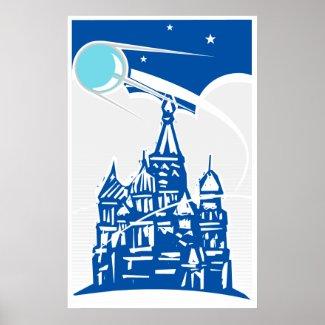 Sputnik over Kremlin Poster