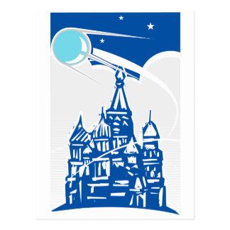 Sputnik sobre el Kremlin Tarjeta Postal