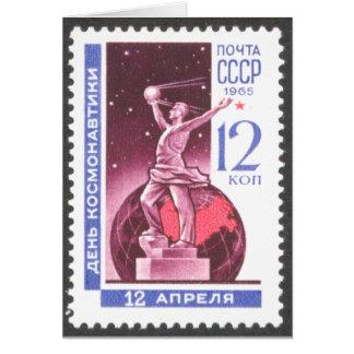 Sputnik Space Exploration Monument 1965 Stationery Note Card