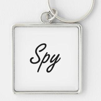 Spy Artistic Job Design Silver-Colored Square Keychain
