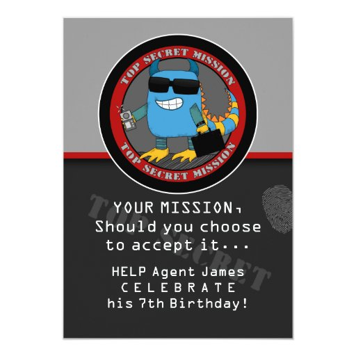 SPY Birthday Party Announcements
