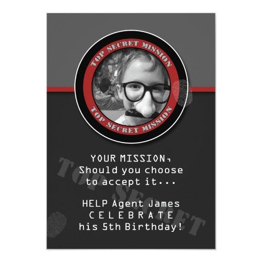 SPY Birthday Party CUSTOM Photo Invitation