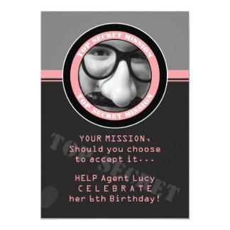 "SPY Birthday Party Custom Photo Invitation 5"" X 7"" Invitation Card"