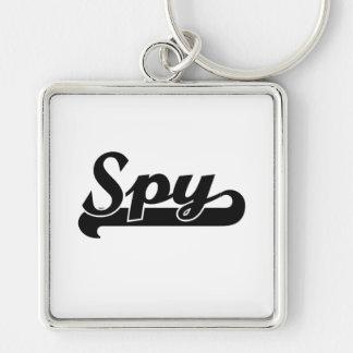 Spy Classic Job Design Silver-Colored Square Keychain