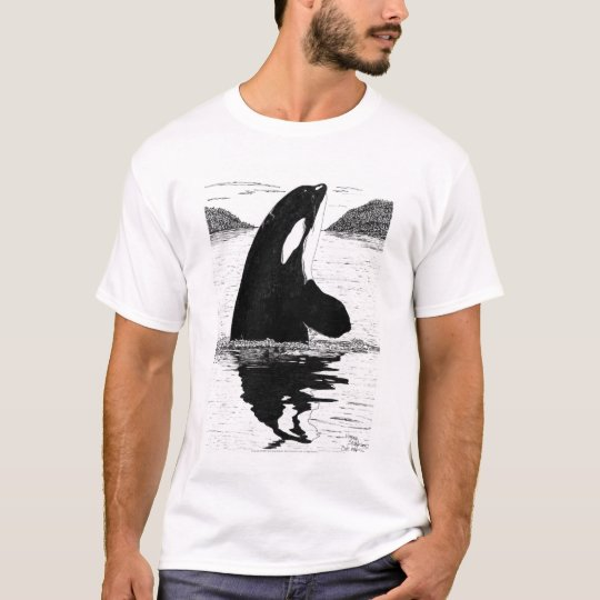 Spy-Hopping Killer Whale, Pen and Ink T-Shirt