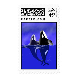 Spy Hopping Orca Whales on Postage Stamp