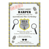 Spy Kids Birthday Invitation - Black Yellow