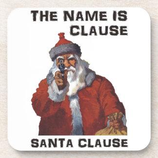 Spy Santa Clause aiming a gun: Funny Christmas Coaster