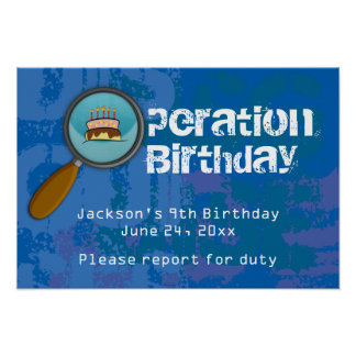 Spy / Secret / Special Agent Birthday Banner Poster