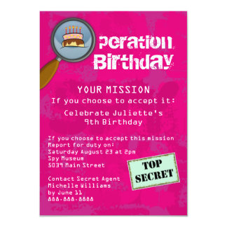 Spy / Secret / Special Agent Birthday Party Card