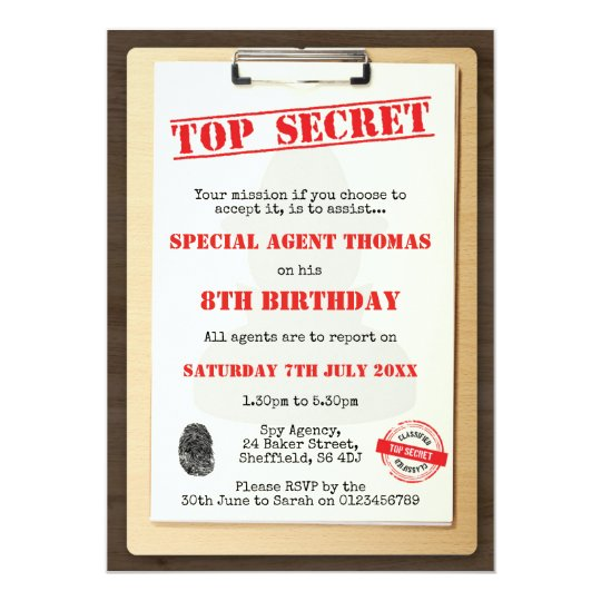 spy themed birthday party invitation zazzle com