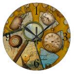 Spyglass steampunk round wall clocks