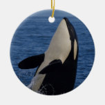 Spyhopping Orca Double-Sided Ceramic Round Christmas Ornament