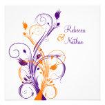 Sq floral blanco anaranjado púrpura. Invitación