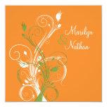 Sq floral blanco verde anaranjado. Invitación del Invitación 13,3 Cm X 13,3cm