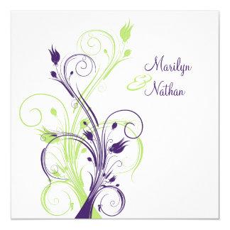 Sq floral blanco verde púrpura. Invitación del