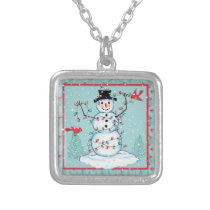 Sq. Necklace Snowman Christmas Lights