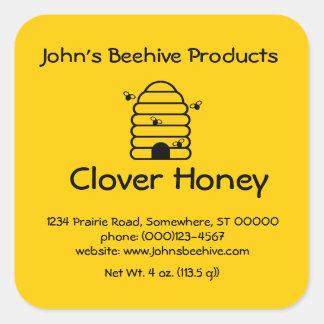 sq Negocio de la miel de la etiqueta engomada