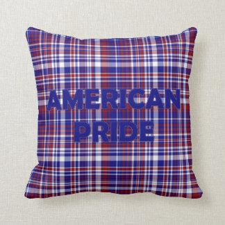 Sq.Pillow,Plaid-American Pride Blue Throw Pillow