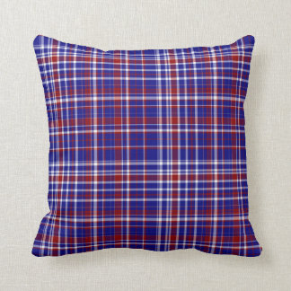 Sq.Plaid Pillow,Red-White-Blue Collection 05 Throw Pillow