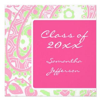 Sqare Pink Green Paisley Graduation Announcement