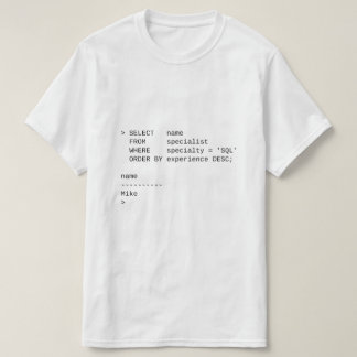 SQL Database Specialist: Mike T-Shirt