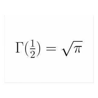 Sqrt(pi) from Gamma function Postcard