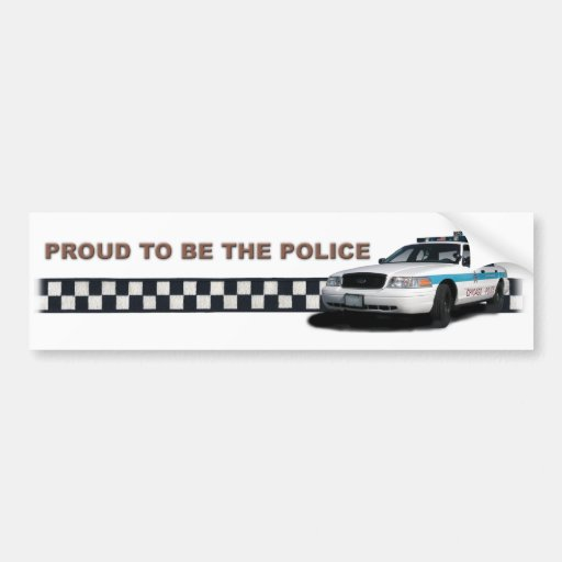 """Squad Checkerband """"Proud To Be The Police"""" Car Bumper Sticker"""