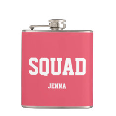 Squad Coral Pink & White Personalized Bridesmaid Flask at Zazzle
