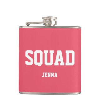 Squad Coral Pink & White Personalized Bridesmaid Flask