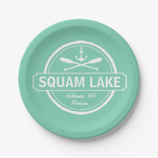 Squam Lake NH personalized town, name and anchor Paper Plate