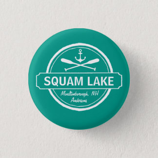 Squam Lake NH personalized town, name and anchor Pinback Button