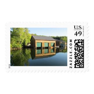 Squam River Boathouse Postage Stamp