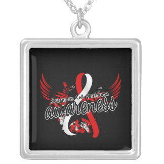 Squamous Cell Carcinoma Awareness 16 Square Pendant Necklace