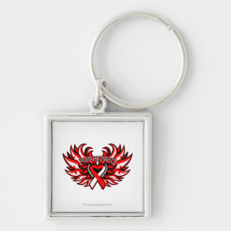 Squamous Cell Carcinoma Awareness Heart Wings Silver-Colored Square Keychain