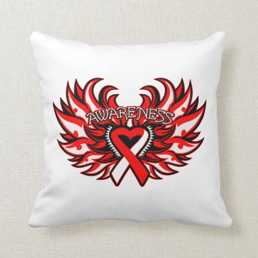 Squamous Cell Carcinoma Awareness Heart Wings Throw Pillow