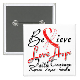 Squamous Cell Carcinoma Believe Heart Collage 2 Inch Square Button
