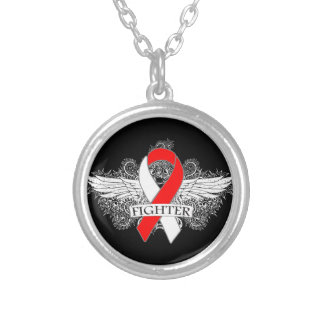 Squamous Cell Carcinoma Fighter Wings Round Pendant Necklace
