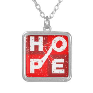 Squamous Cell Carcinoma HOPE Cube Square Pendant Necklace