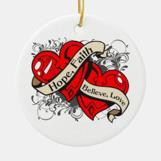 Squamous Cell Carcinoma Hope Faith Dual Hearts Christmas Ornament