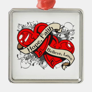 Squamous Cell Carcinoma Hope Faith Dual Hearts Ornaments