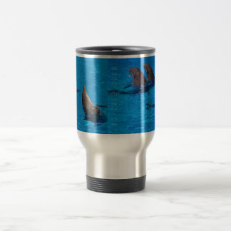 """squandered dolphins"" by mysteryella travel mug"