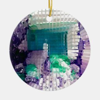 Square #4 design ceramic ornament